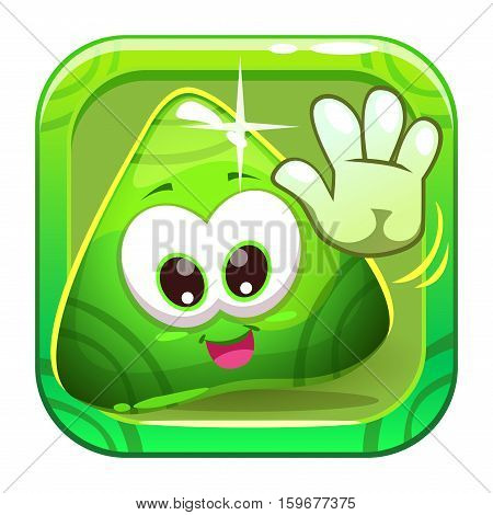 App icon with funny cute green triangle greeting slimy character. Vector game asset.
