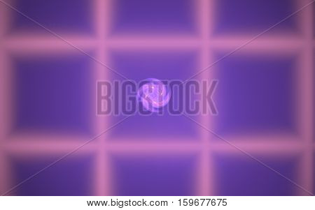 abstract illustration of a spiral circle of hyperbole lilac on a background of blurred lines intersecting in a grid pattern with purple mesh
