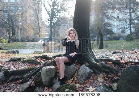 Irl And Autumn Tree
