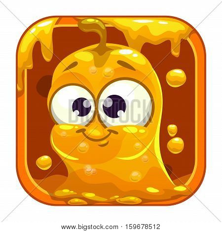 App icon with funny cute yellow slimy monster. Vector game asset.