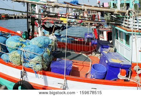 Messy Fishing Ship with Fishing Tools Colorful