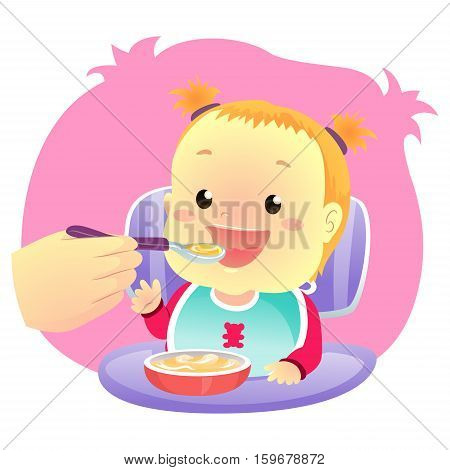 Vector Illustration of Little Baby Girl eating eating Soup