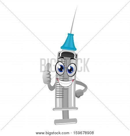 Vector Illustration of Cute Cartoon Syringe Mascot
