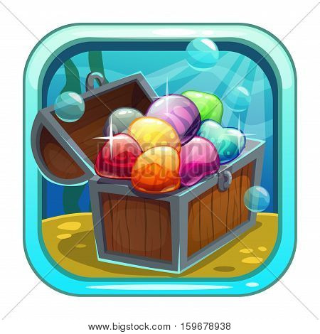 Cartoon app icon with treasure chest on the sea bottom. Application store item template. Vector asset for game or web design.