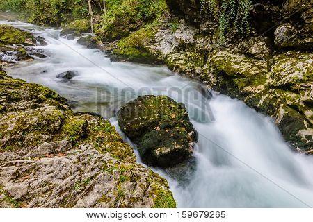 Mountain river Radovna in the Vintgar gorge, a natural Triglav national Park, Slovenia.