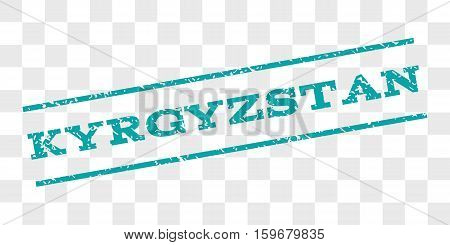 Kyrgyzstan watermark stamp. Text caption between parallel lines with grunge design style. Rubber seal stamp with dirty texture. Vector cyan color ink imprint on a chess transparent background.