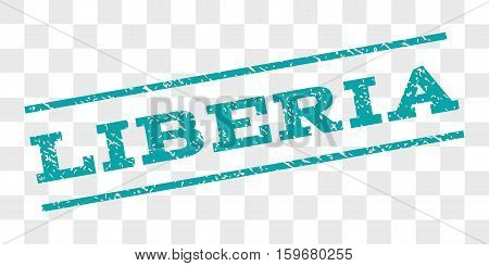 Liberia watermark stamp. Text caption between parallel lines with grunge design style. Rubber seal stamp with unclean texture. Vector cyan color ink imprint on a chess transparent background.