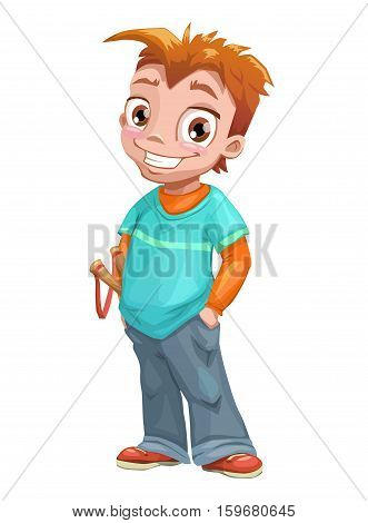 Funny standing red haired boy with slingshot. Vector kid illustration. Isolated on white