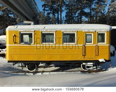 Outdated railroad passenger car in winter, Novosibirsk, Siberia