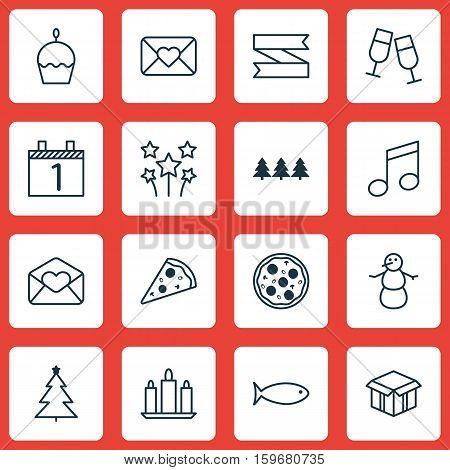 Set Of 16 New Year Icons. Can Be Used For Web, Mobile, UI And Infographic Design. Includes Elements Such As Agenda, Calendar, Candle And More.