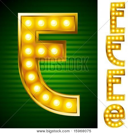 Letters for signs with lamps. Letter e