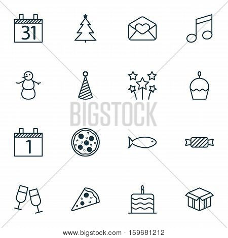 Set Of 16 New Year Icons. Can Be Used For Web, Mobile, UI And Infographic Design. Includes Elements Such As Agenda, Aquatic, Love And More.