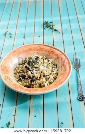 Delicious traditional homemade Italian risotto with wild fresh porcini mushrooms herbs olive oil garlic and thyme in serving plate with fork over rustic turquoise wooden background close-up