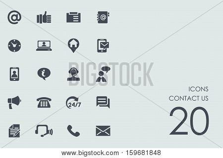 contact us vector set of modern simple icons