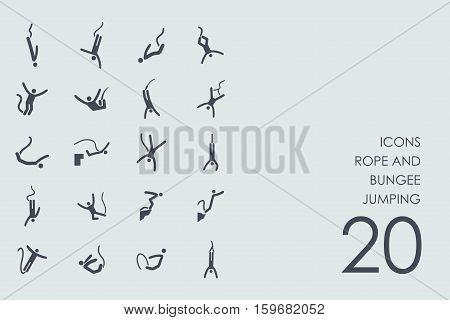 rope and bungee jumping vector set of modern simple icons