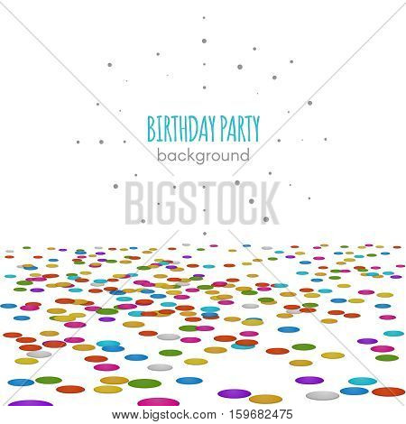 Confetti floor. Vector confetti surface pattern isolated on white background for birthday party or invitation decor. Colored confetti to party holiday illustration