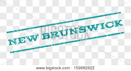 New Brunswick watermark stamp. Text caption between parallel lines with grunge design style. Rubber seal stamp with dust texture. Vector cyan color ink imprint on a chess transparent background.