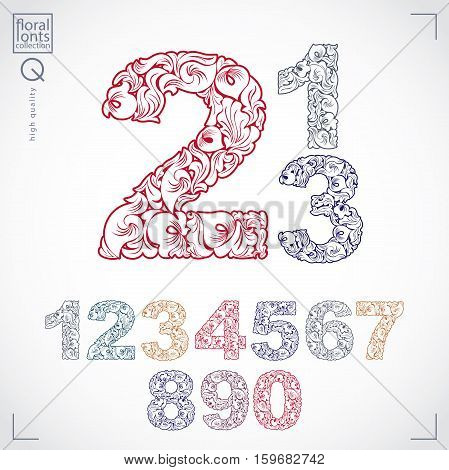 Ecology Style Flowery Numbers, Vector Numeration Made Using Natural Ornament. Colorful Digits Create