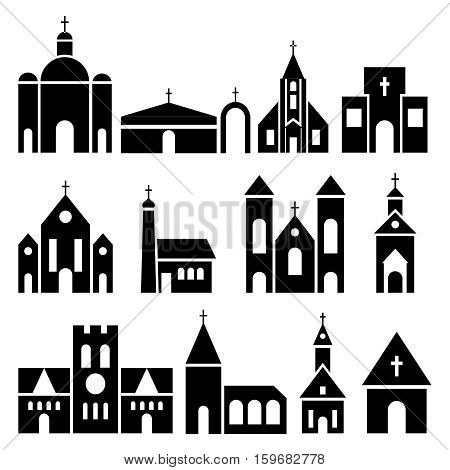 Church building icons. Vector basilica and chapel silhouettes. Black temple facade set illustration