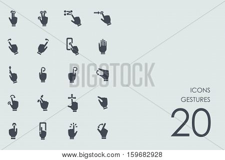 gestures vector set of modern simple icons