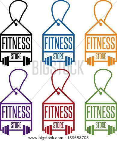 Fitness Store Tags With Barbells Vector Set