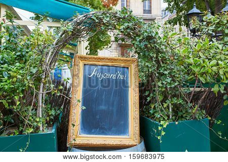 Black Menu Board In A Frame With Word Aujourd'hui (today)