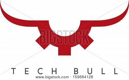 Gear With Bull Horns Technology Vector Concept