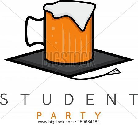 Mug Of Beer In Academic Hat , Student Party Vector Concept