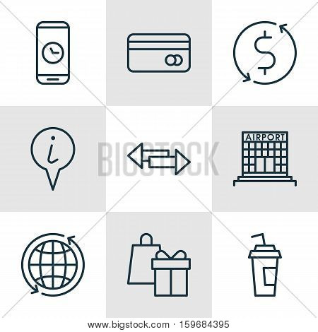 Set Of 9 Travel Icons. Can Be Used For Web, Mobile, UI And Infographic Design. Includes Elements Such As Debit, Credit, Shopping And More.