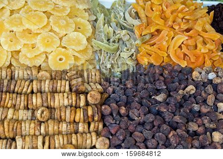 Various colorful candied and crystallized fruits in fruit market on Madeira island