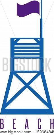 Vector Illustration Flat Lifeguard Beach Tower With Flag