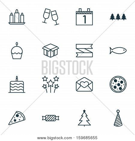 Set Of 16 Celebration Icons. Can Be Used For Web, Mobile, UI And Infographic Design. Includes Elements Such As Month, Sweet, Hat And More.
