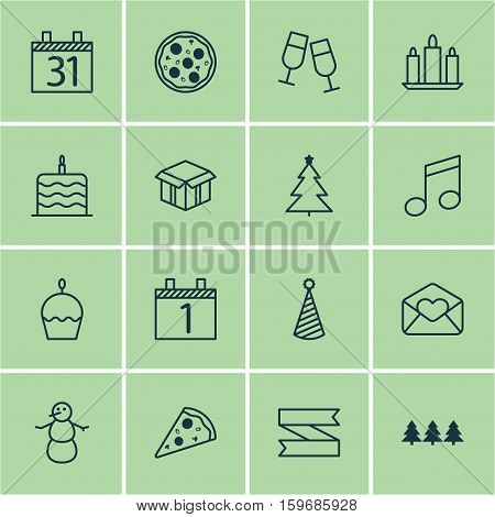 Set Of 16 Christmas Icons. Can Be Used For Web, Mobile, UI And Infographic Design. Includes Elements Such As Piece, Note, Agenda And More.
