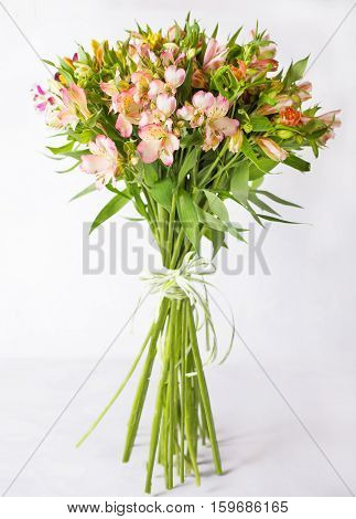Bouquet alstroemeria on a light gray background. Still life with colorful alstroemeria. Fresh alstroemeria. Place for text. Flower concept. Fresh spring bouquet. Summer Background