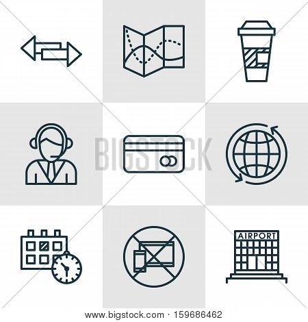 Set Of 9 Transportation Icons. Can Be Used For Web, Mobile, UI And Infographic Design. Includes Elements Such As Debit, Takeaway, Coffee And More.