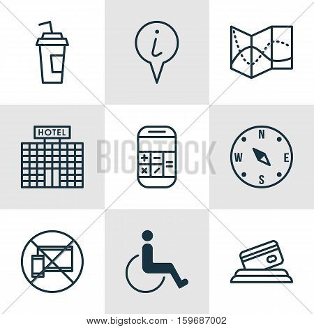 Set Of 9 Travel Icons. Can Be Used For Web, Mobile, UI And Infographic Design. Includes Elements Such As Paralyzed, Travel, Drink And More.