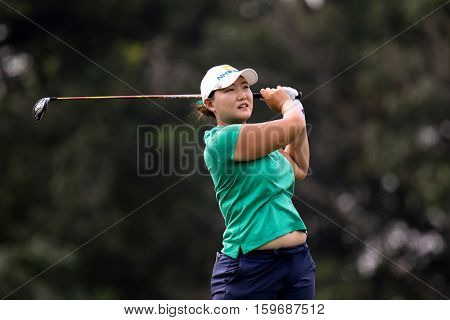 KUALA LUMPUR, MALAYSIA - OCTOBER 29, 2016: Mirim Lee of South Korea tees off at the TPC Golf Course at the 2016 Sime Darby LPGA Malaysia golf tournament.