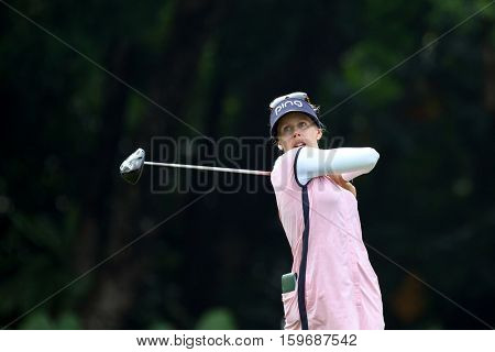 KUALA LUMPUR, MALAYSIA - OCTOBER 29, 2016: Pernila Lindberg of Sweden tees off at the TPC Golf Course at the 2016 Sime Darby LPGA Malaysia golf tournament.