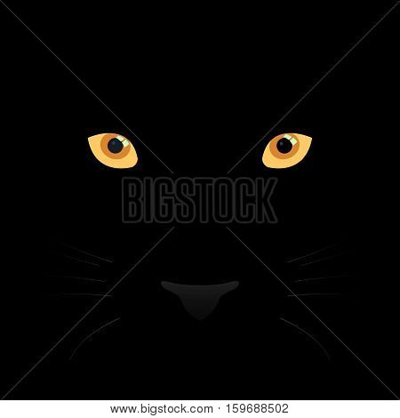 Panther eyes mustache and nose on black background. Vector Illustration.