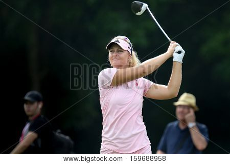 KUALA LUMPUR, MALAYSIA - OCTOBER 29, 2016: Anna Nordqvist of Sweden tees off at the TPC Golf Course at the 2016 Sime Darby LPGA Malaysia golf tournament.