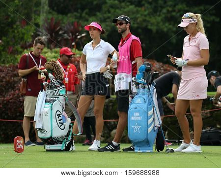 KUALA LUMPUR, MALAYSIA - OCTOBER 29, 2016: LPGA golfers wait to tee off at the TPC Golf Course at the 2016 Sime Darby LPGA Malaysia golf tournament.