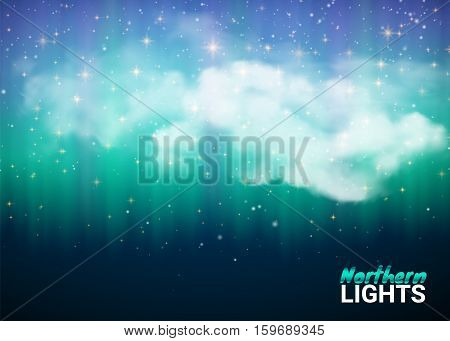 Magic Fabulous Night Sky with Clouds and Realistic colored Northern or polar lights. Starry Night Sky Aurora Beautiful Natural Effect for Design Projects. Vector Illustration.
