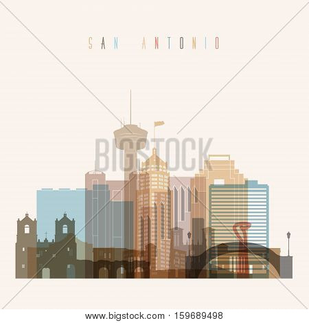 Transparent styled San Antonio state Texas skyline detailed silhouette. Trendy vector illustration.
