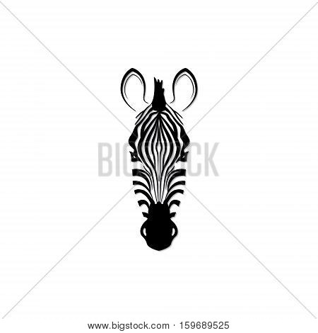 Label with the head of a zebra. Flat zebra portrait for card placard invitation book poster note book sketch book.