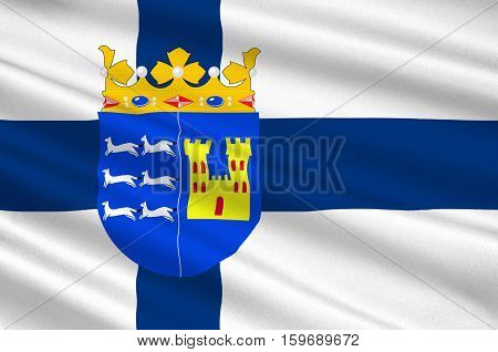 Flag Of Province of Oulu is a province of Finland. 3d illustration