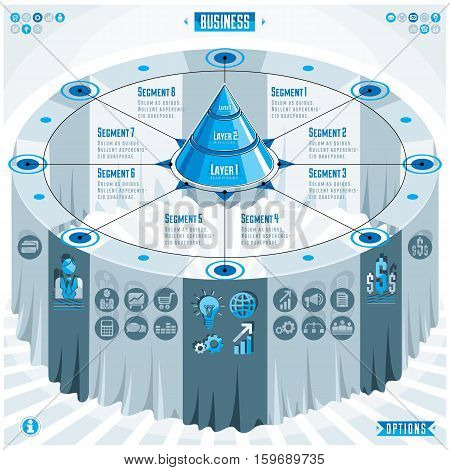 Creative Infographics Elements Concept, 3D Table With Layered Pyramid Idea, Vector Layout Illustrati