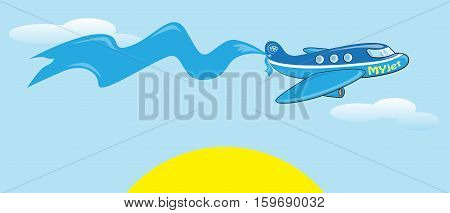 Cartoon jet carrying a blue banner. Sky, clouds and sun. Lettering My Jet.