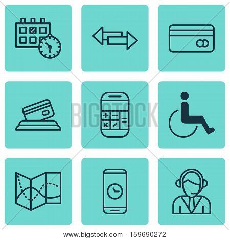 Set Of 9 Traveling Icons. Can Be Used For Web, Mobile, UI And Infographic Design. Includes Elements Such As Payment, Disabled, Paralyzed And More.
