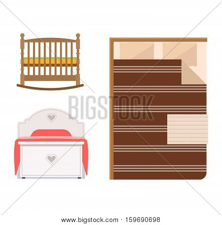 Vector bed icon set interior home rest. Double romantic travel motel collection sleep furniture icon. House bedroom or hostel bedtime modern service relaxation.