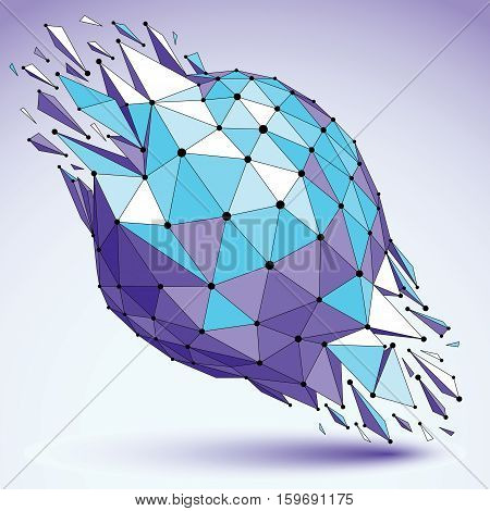 Abstract 3D Faceted Blue Figure With Connected Black Lines And Dots. Vector Low Poly Shattered Desig